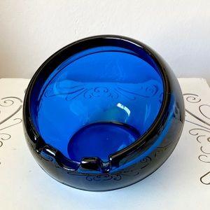 Large vintage blue glass ashtray planter terrarium